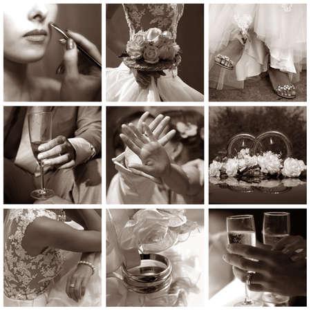 Collage of nine wedding photos in gentle - blue tone photo