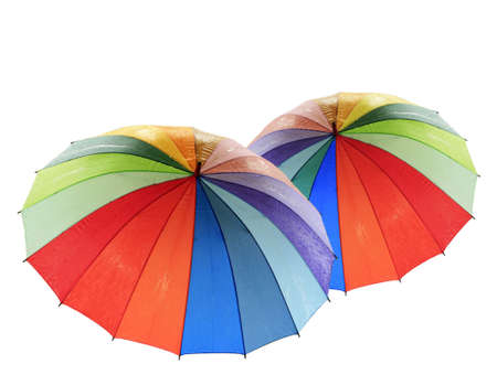 Rainbow umbrella on a white background photo