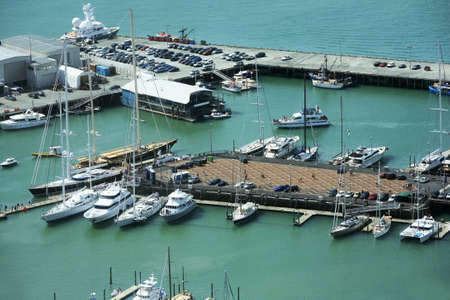 Yachts at Auckland harbour. New Zealand photo
