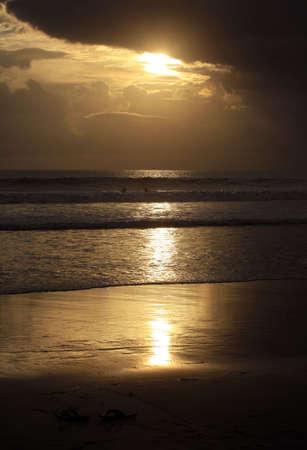 Coastline Indian ocean on sunset photo