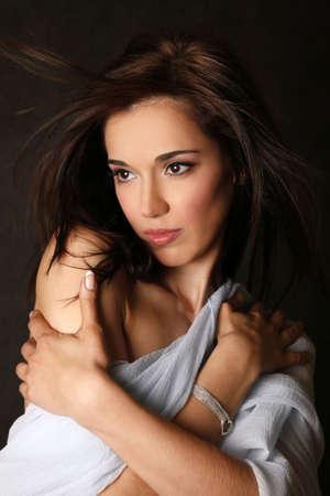 Portrait of the beautiful brunette in studio Stock Photo - 4939716