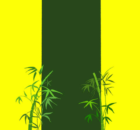 On yellow-green background, the branches of green bamboo Stock Photo - 5139157