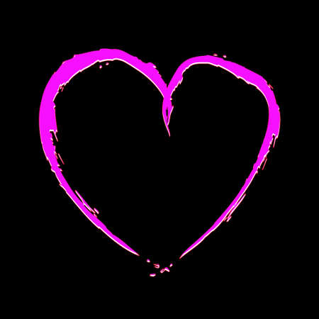 fragmentary: Pink heart with fragmentary edges on black background