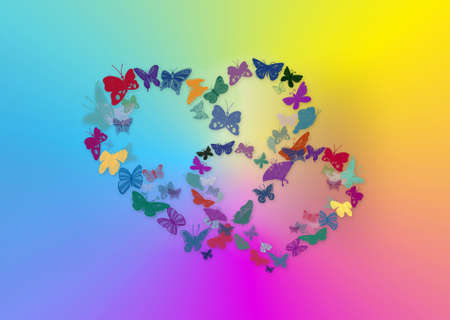 Two hearts from butterflies on a multi-coloured background Stock Photo - 5171767