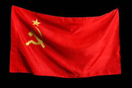 The Soviet flag isolated on a black background photo