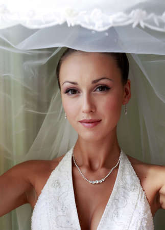 Portrait der schönen Braut in einem Schleier