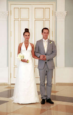 The bride and the groom in a hall of registration of a marriage Stock Photo - 5295596