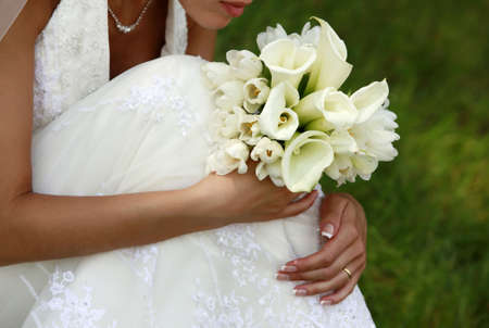 callas: Wedding bouquet from tulips and callas