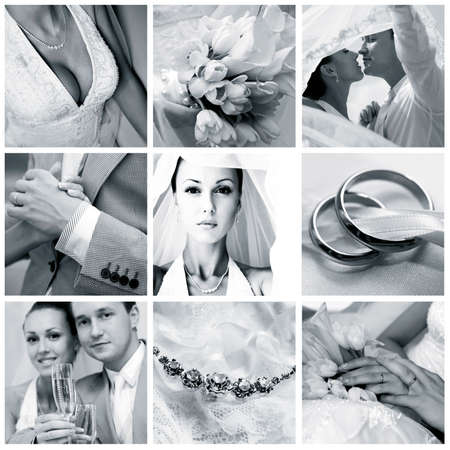 Collage of nine wedding photos in gentle - blue tone