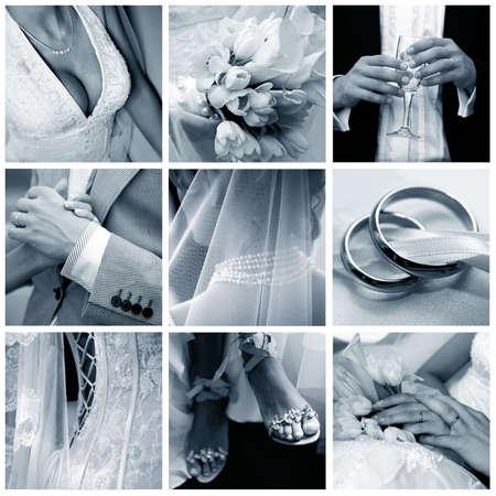 Collage of nine wedding photos in gentle - blue tone Stock Photo - 5368052