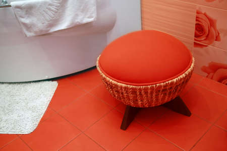 Modern design interior of red bathroom photo