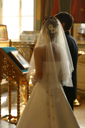 Before the wedding ceremony - inside church Stock Photo