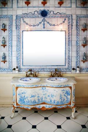 carpet wash: Vintage bath roomin the Dutch style Stock Photo