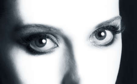dilate: Picture of beautiful woman open eyes closeup