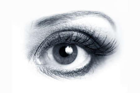 dilate: Picture of beautiful woman open eye closeup Stock Photo