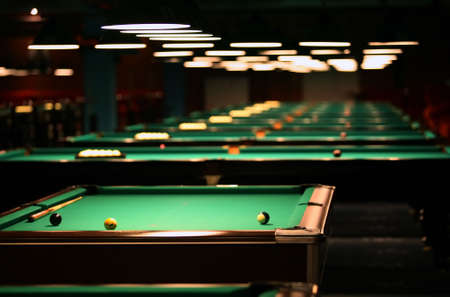 Billiard tables in a fashionable night club