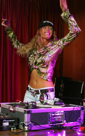 Moscow. Russia - SEP, 2006: Known Russian dj-girl Benzina. Show in Moscow in September 2006