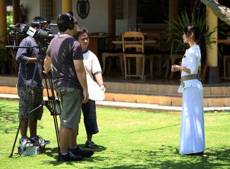 Indonesia, Bali 22 October: TV reporter presenting the news about Bali, 22 October 2007, Indonesia