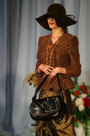 RUSSIA, YAROSLAVL, 26 MAY, 2005: Fashion model showing clothes on  international display in Yaroslavl 26 may. Russia