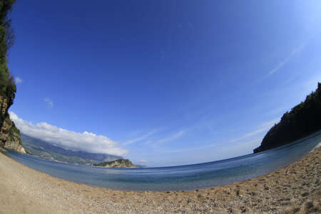 budva: Mogren beach in Montenegro in the early morning.