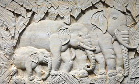 ancient elephant: Bas-relief with the image Indian elephants