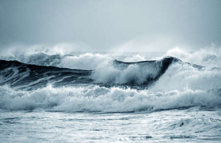 coastline: Big wave crashes on to the shore. Indian ocean