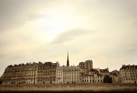 view at Paris architecture made from the river Siene photo