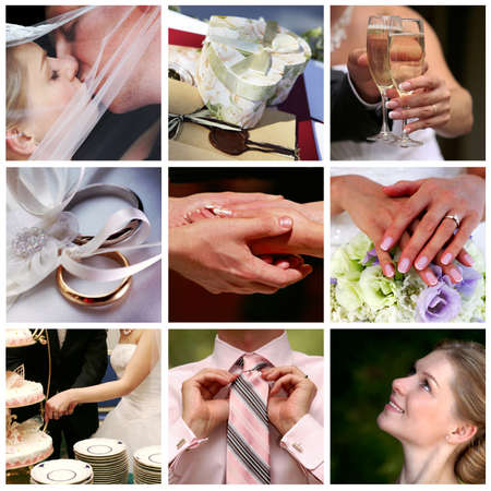 vőlegény: Collage of nine wedding photos in gentle - blue tone