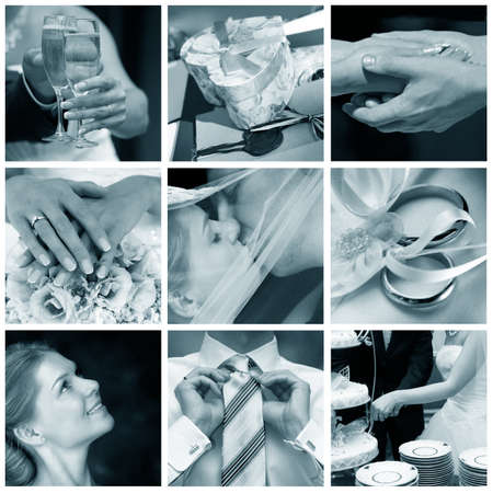 Collage of nine wedding photos in gentle - blue tone Stock Photo - 9030070