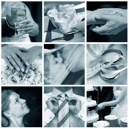 Collage of nine wedding photos in gentle - blue tone Stock Photo - 9030070