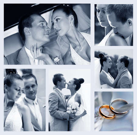 Collage of six wedding photos in gentle - blue tone