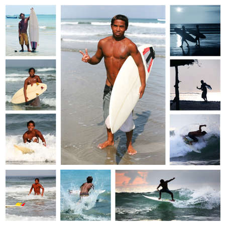 Collage from 10 photos surfer . Bali Stock Photo - 9397222