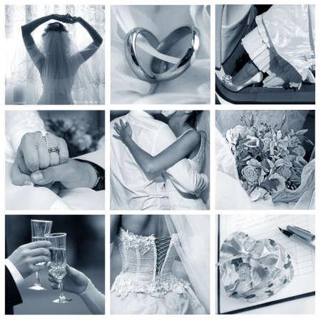 Collage of nine wedding photos in gentle - blue tone Stock Photo - 9441563