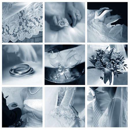 Collage of nine wedding photos in gentle - blue tone Stock Photo - 9441564