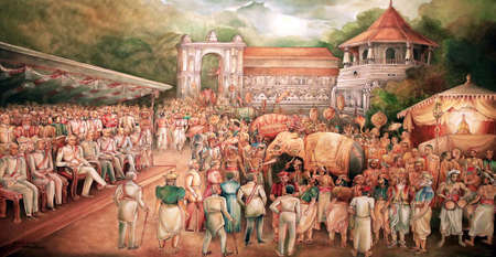 Picture in the Temple of Sacred Tooth Buddha on Sri Lanka on which it is represented: A prolonged drought was stopped by a special exposition of The Tooth Relic and the heavy rains resulting there from caused severe floods that was named