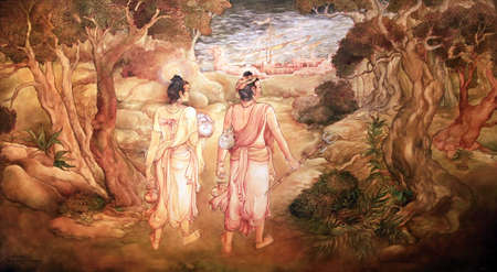 kandy: Picture in the Temple of Sacred Tooth Buddha on Sri Lanka on which it is represented: King Guhasiva sends Sudantha Danth and Hemamala to Sri Lanka to protect the Tooth Relic from Prince Bhagineyya who waged war to capture same.