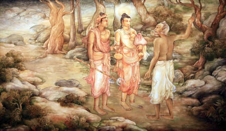 Picture in the Temple of Sacred Tooth Buddha on Sri Lanka on which it is represented: The Brahamin of the temple where Hemamala and party lodged in Sri Lanka; directed them to Anuradhapura. Stock Photo - 9444665