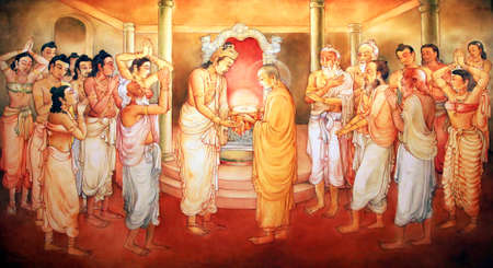 veneration: Picture in the Temple of Sacred Tooth Buddha on Sri Lanka on which it is represented: The Arahath Kema presented King Brahmadatta of Kalinga with the Sacred Tooth Relic for veneration