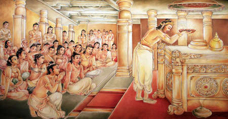 Picture in the Temple of Sacred Tooth Buddha on Sri Lanka on which it is represented: King Brahmadatta constructed a golden Temple adorned with pears and gems, for the Sacred Tooth Relic. Stock Photo - 9444664