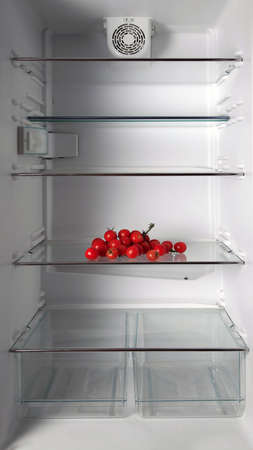 Empty refrigerator with fresh tomatos photo