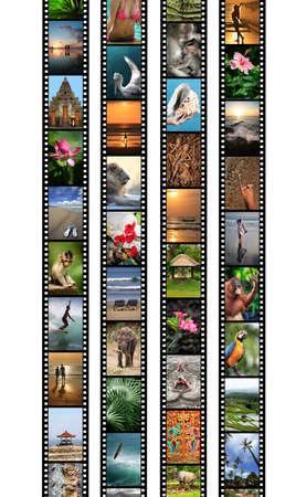 Film strips with travel photos. Indonesia, Island Bali photo