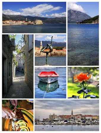 Collage from 6 photos city Budva. Montenegro photo