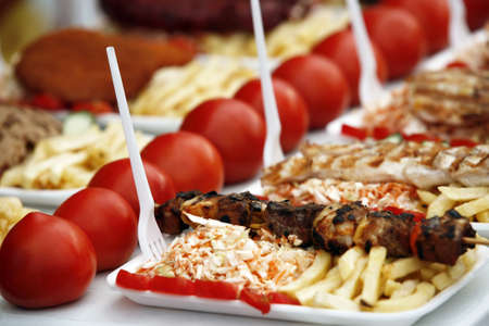 griller: Shish kebab with fresh tomatoes and salad from cabbage
