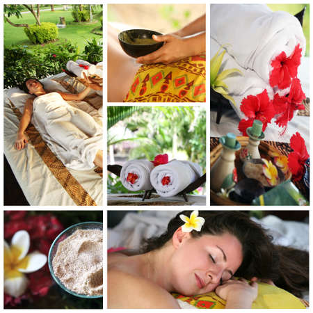 bali massage: Collage from 6 photos of massage interior to Bali