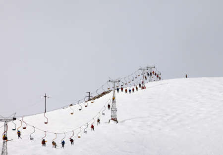 pooled:  Peoples pooled up with ski lift