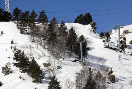 pooled: Peoples pooled up with ski lift. Elbrus. Russia. Caucasus