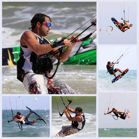 Collage from 6 photos kiteboarder enjoy surfing in water. Vietnam photo