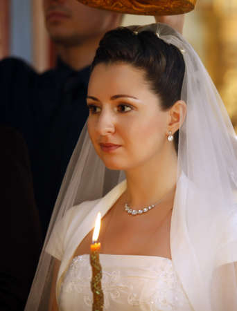 catholic wedding: The bride on ceremony of wedding - internal church