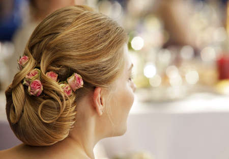 young style: The girl with a wedding hairdress