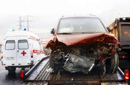 Evacuation of the broken automobile in accident